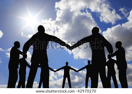 people group circle silhouette on sun sky collage - stock photo