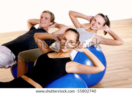 people group  doing fitness exercise - stock photo