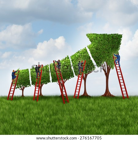People group investing and financial services business concept as a team of corporate workers with businessmen and businesswomen on a ladder caring for trees shaped as a finance chart arrow going up. - stock photo