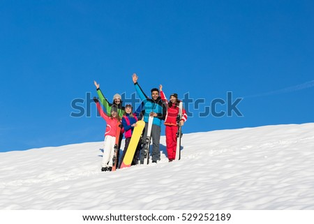 People Group With Snowboard And Ski Resort Snow Winter Mountain Cheerful Friends Extreme Sport Vacation