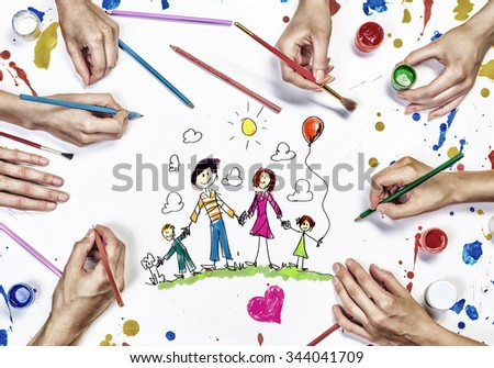 People hands draw and paint happy family concept - stock photo
