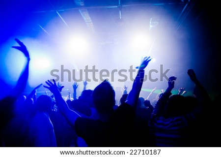 People hanging out at the concert - stock photo