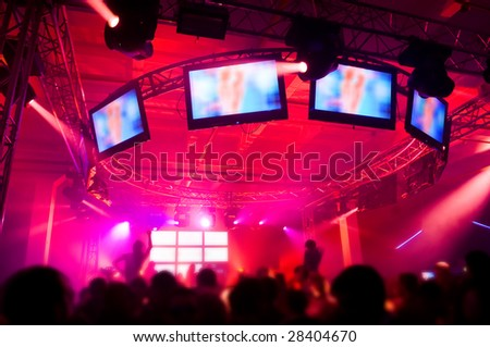 People hanging out at the concert, blurred motion - stock photo