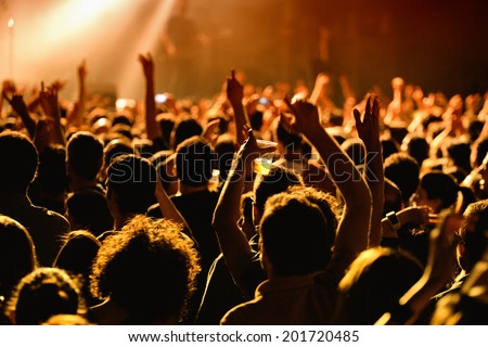 People have fun in a concert - stock photo