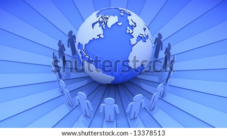 People have surrounded the Earth. - stock photo