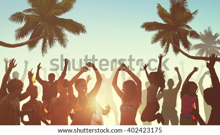 People Having a Party by the Beach Concept