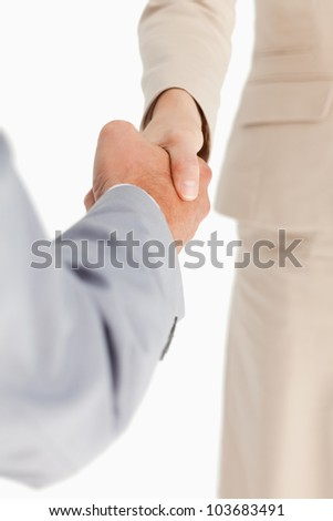 People having an accord against white background - stock photo