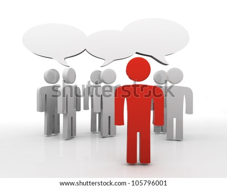People having discussion, blank speech bubbles. One red man in front. 3d - stock photo