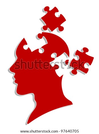 People head with puzzles elements for psychology or medical concept design. Vector version also available in gallery - stock photo