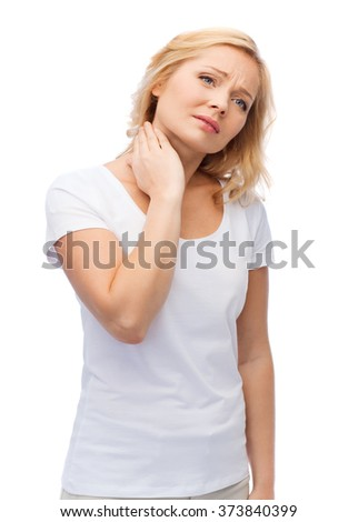 people, healthcare and problem concept - unhappy woman suffering from neck pain