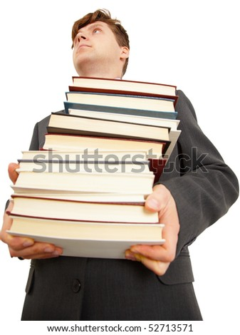 People  holding a large number of books on white