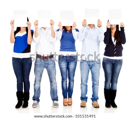 People holding blank posters - isolated over a white background - stock photo