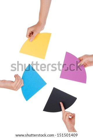 People Holding Colorful Pieces of a Chromatic Circle, Isolated