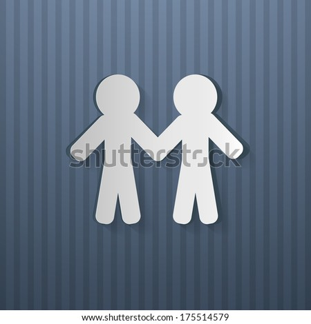 People Holding Hands Cut From Paper, Blue Cardboard - Also Available in Vector Version  - stock photo