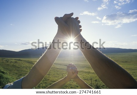 People Holding Hands, Hands Across America, New Mexico - stock photo