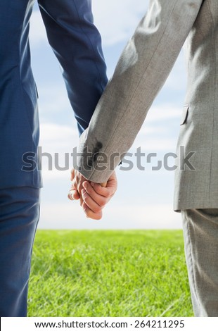 people, homosexuality, same-sex marriage and love concept - close up of happy male gay couple holding hands from back over blue sky and grass background - stock photo