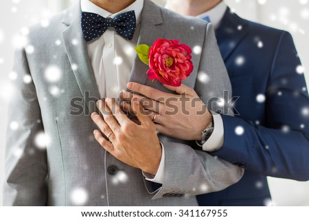 people, homosexuality, same-sex marriage and love concept - close up of happy married male gay couple in suits with buttonholes and bow-ties on wedding over snow effect - stock photo