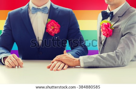 people, homosexuality, same-sex marriage and love concept - close up of happy married male gay couple in suits with buttonholes and bow-ties holding hands on wedding over rainbow flag background - stock photo