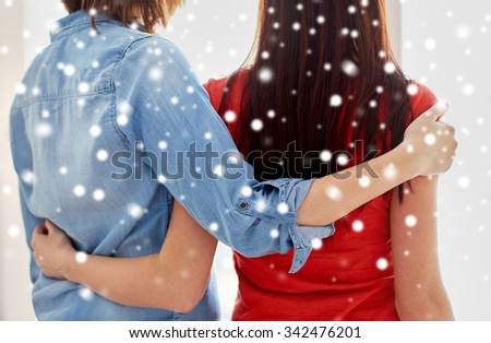 people, homosexuality, same-sex marriage, gay and love concept - close up of happy lesbian couple hugging at home over snow effect - stock photo