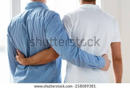 people, homosexuality, same-sex marriage, gay and love concept - close up of happy male gay couple hugging from back - stock photo