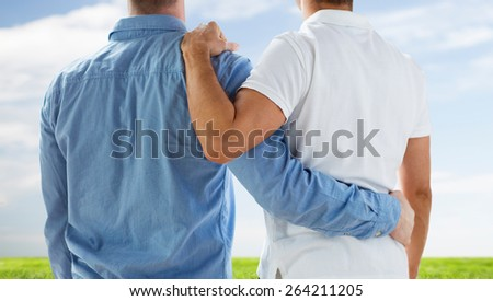 people, homosexuality, same-sex marriage, gay and love concept - close up of happy male gay couple or friends hugging from back over blue sky and grass background - stock photo