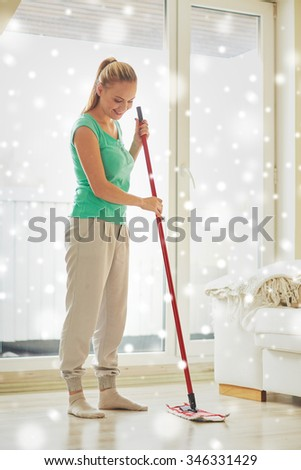 Adult Cleaner Maid Woman Mop Uniform Stock Photo 139772131