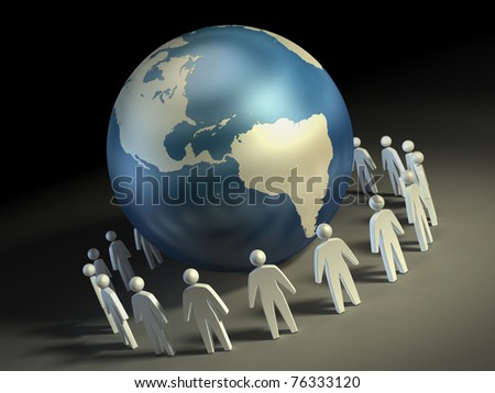 People icons forming a circle around the Earth. Digital illustration. - stock photo