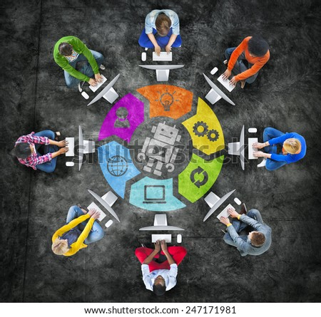 People in a Circle Using Computer with Robot Symbol - stock photo