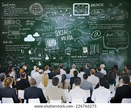 People in a Meeting with Social Media Concepts - stock photo