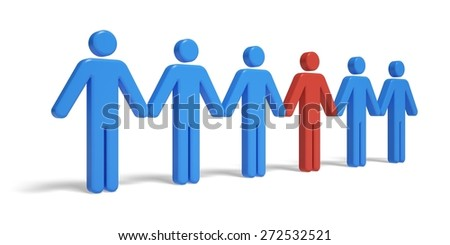 People In A Row. 3D. Standing Out - stock photo