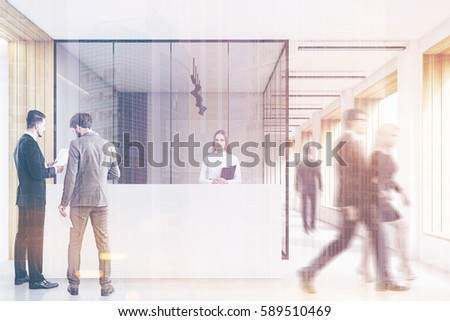 People in an office lobby with wooden decoration elements, white and elegant reception counter, an office with glass walls, clean and bright. 3d rendering. Mock up. Toned image