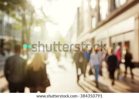 people in bokeh, street of London - stock photo
