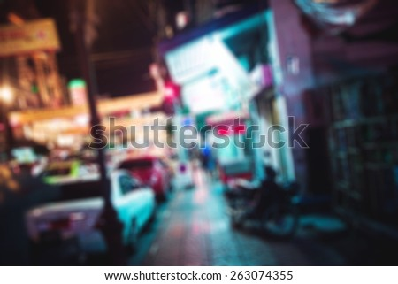people in bokeh, street of night Bangkok, Chinatown