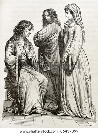 People in Charles the Bald time, old illustration. Created by Beaunier and Miffliez, published on Magasin Pittoresque, Paris, 1843 - stock photo