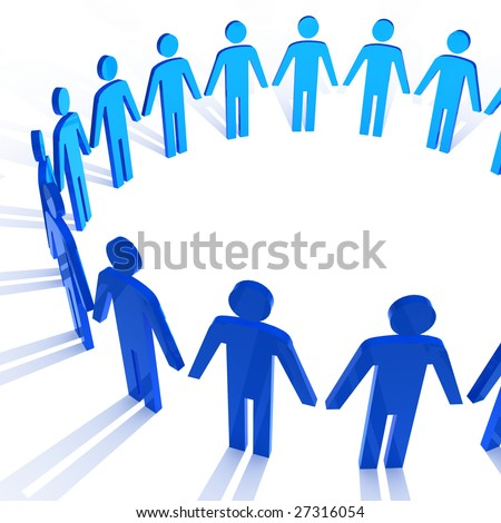 people in circle metaphoric illustration business background - stock photo