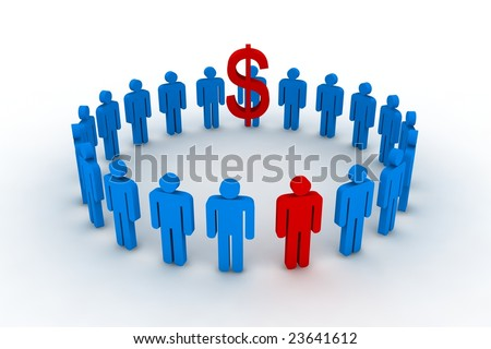 people in circle with dollar sign - 3d illustration