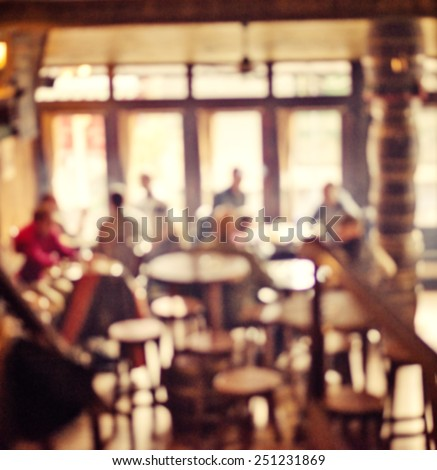 People in Coffee shop blur background with bokeh lights, vintage filter for old effect, blurred background - stock photo