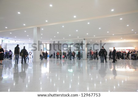 people in hall - stock photo