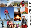 people in hiking collage - stock photo