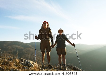 People in mountains