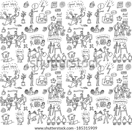 People in office. Doodles seamless pattern - stock photo