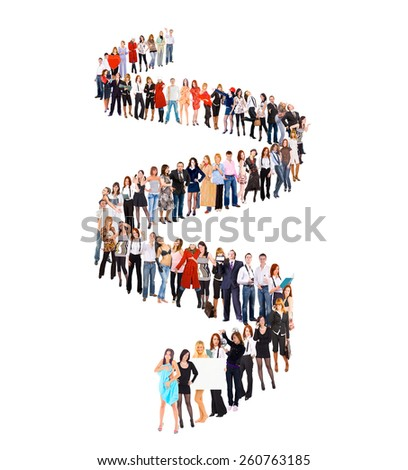 People in Queue Together we Stand  - stock photo