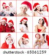 people in santa claus hat - stock photo
