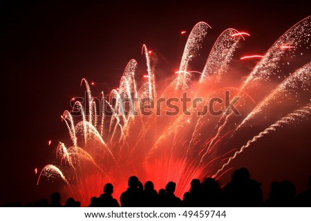 People in silhouette are watching a colorful firework show