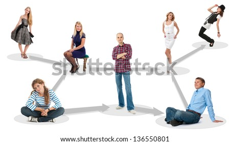 people in social network - isolated over a white background - stock photo