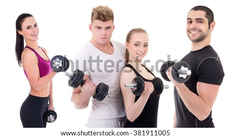 people in sportswear with dumbbells isolated on white background - stock photo