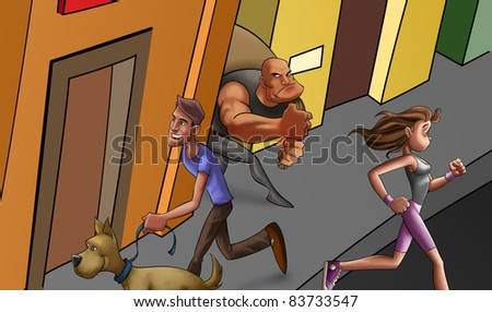 people in the city in a normal day and a thief walking - stock photo