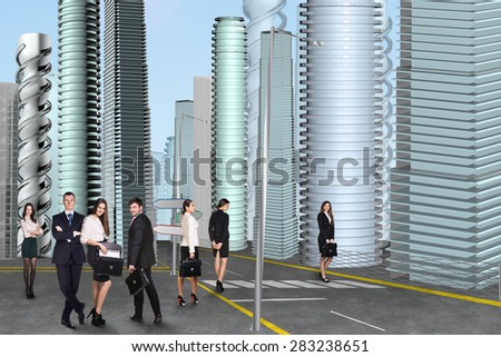 People in the city. People walking down the street - stock photo