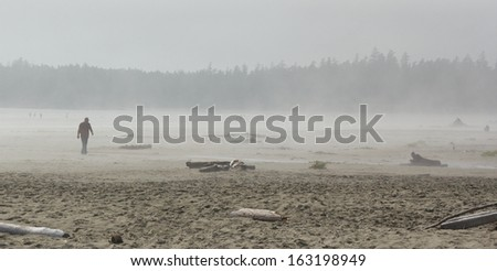 People in the fog on Long Beach, Vancouver Island, Canada - stock photo