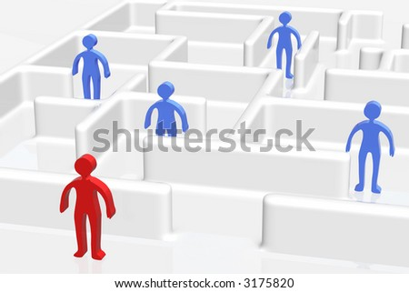 People in the maze and one outside - stock photo